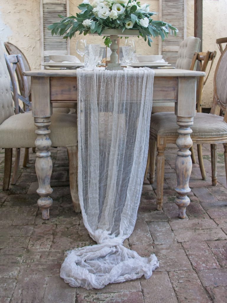 Sheer natural organic linen table Runner - Stone