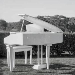 white baby grand piano hire