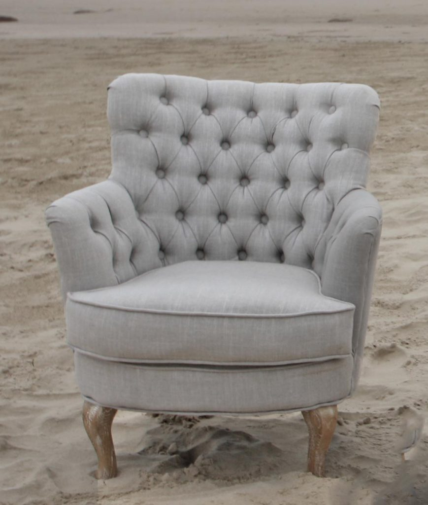 French Linen Buttoned Tub Chair