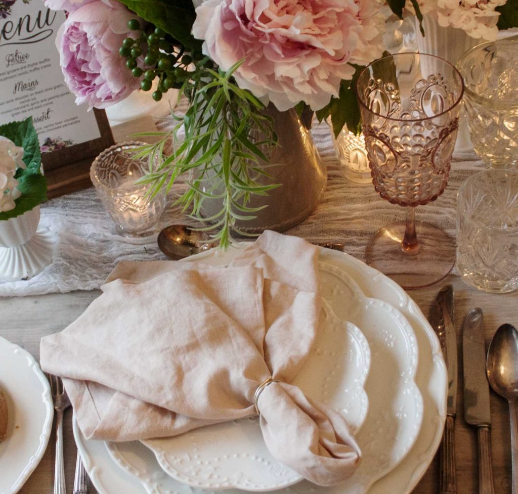 100% french linen napkins, finished edge - Rose Quarts