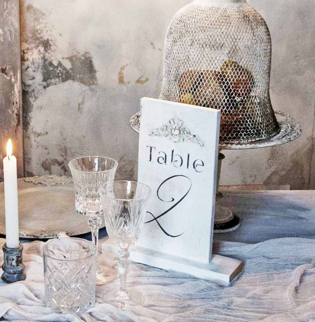 Wooden wedding table numbers with stand
