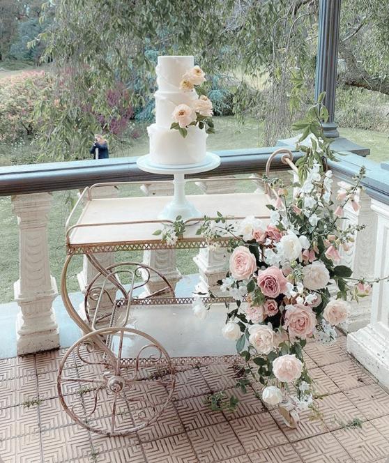 Vintage Bar Cart Cake Table Hire