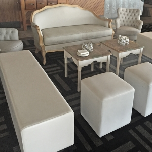 french sofa and ottomans wedding lounge