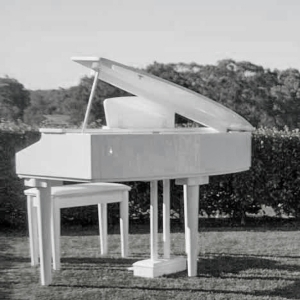 white baby grand piano hire