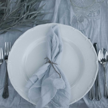 Dove Grey Natural Table Runners & Napkins