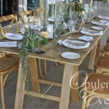 Wedding timber trestle table hire