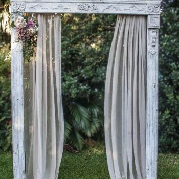 ornate detailed vintage antique white wedding arch hire