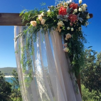 Rustic Timber Wedding Arbor with linen draping