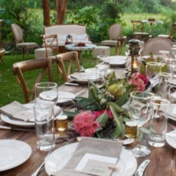 rustic timber table and chair hire