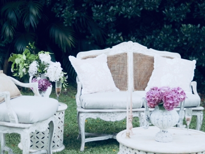 Vintage French Rattan Back Lounge Hire