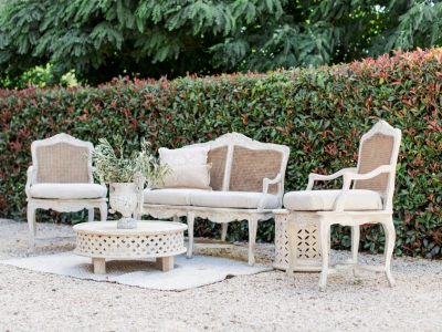 French Rattan Back Lounge Hire Hunter Valley